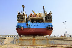Ship was under repair in the dock Stock Image
