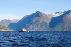 Boat in Sognefjord scenery, Norway, Scandinavia Royalty Free Stock Image