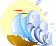 Ship and wave Royalty Free Stock Image