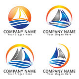 Ship and wave Sea Abstract Concept Logo Stock Photo
