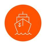 Ship on the waves,  round monochrome icon, flat style. Stock Photos