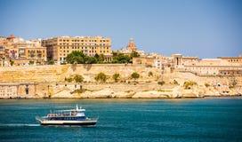Ship on the way to Valletta Stock Photo