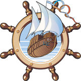 Ship & wheel. An image of ship is in framing of steering wheel Royalty Free Stock Image