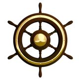 Ship wheel. Old boat steering wheel in hardwood and brass Royalty Free Stock Photography