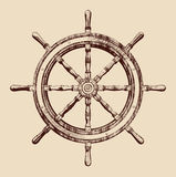 Ship wheel. Ship steering wheel vintage vector illustration Royalty Free Stock Photography
