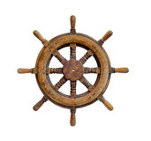 Ship wheel. Old wooden Ship wheel on white Royalty Free Stock Image
