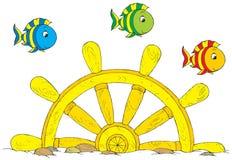 Ship wheel. Vector clip-art / children's illustration for your design Royalty Free Stock Photography