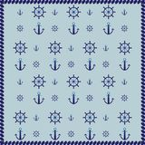 Ship wheel, anchor and rope abstract pattern background Royalty Free Stock Photos
