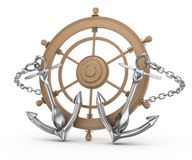 Ship wheel and anchors Stock Photo