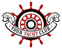 Ship wheel banner. In  style Royalty Free Stock Images