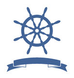 Ship Wheel Banner. Isolated on white background. Vector Illustration Stock Photo