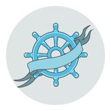 Ship Wheel Banner isolated  whith ribbon Royalty Free Stock Image