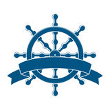 Ship Wheel With Banner. Nautical Emblem Royalty Free Stock Photography