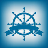 Ship Wheel With Banner. Nautical Emblem Royalty Free Stock Photos