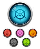 Ship wheel button icon. Glossy ship wheel button icon set in 6 colors Royalty Free Stock Image