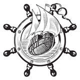 Ship & wheel_engraving. An image of ship is in framing of steering wheel, executed in style of engraving Royalty Free Stock Images