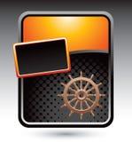Ship wheel on gold stylized advertisement Stock Image