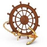 Ship wheel and golden anchor Stock Photography