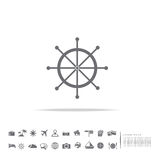 Ship wheel icon on white background. With travel set stock illustration