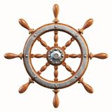 Ship wheel isolated on white background 3d rendering. Isolated illustration on white background Stock Images