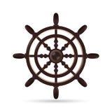 Ship wheel marine wooden vintage isolated on white background Royalty Free Stock Photos