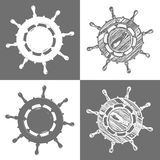 Ship wheel marine wooden vintage  vector illustration isolated white background Royalty Free Stock Photos