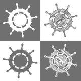 Ship wheel marine wooden vintage  vector illustration isolated white background Royalty Free Stock Photos