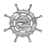 Ship wheel marine wooden vintage  vector illustration isolated white background Stock Photos