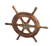 Ship wheel over white Royalty Free Stock Images