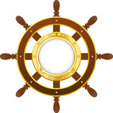 Ship wheel with porthole Stock Photo
