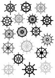 Ship wheel in retro style icon set Royalty Free Stock Photo