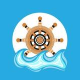 Ship wheel and sea element flat design Stock Photos