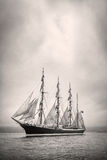 Ship with white sales in black and white Stock Images