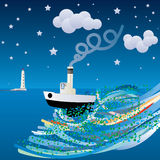 Ship in a wild sea. And lighthouse Royalty Free Stock Photography