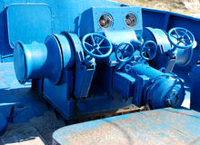 Ship winch. Close-up of ship machine part stock images