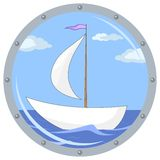 Ship in a window. Window porthole with the ship floating on the sea and the blue sky with clouds Stock Photography