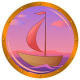 Ship in a window. Window porthole with the ship floating on the sea in the morning on sunrise Stock Photos