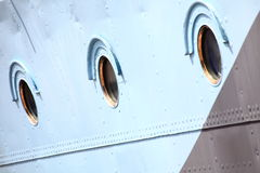 Ship window steel blue background Royalty Free Stock Photography