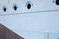 Ship window steel blue background Stock Image