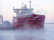 Ship in winter. Ship in icy waters, Oulu, Finland Royalty Free Stock Image