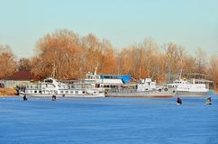 Ship at winter harbor Royalty Free Stock Image