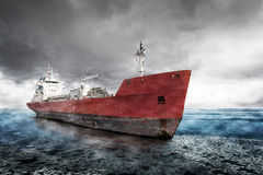 Ship at winter scenery Royalty Free Stock Image