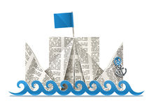 Ship With Flag Paper Origami Toy Royalty Free Stock Photos