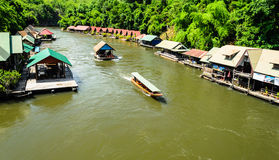 Ship and Wooden Raft house near forest in Thailannd Stock Photography