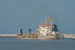 Ship working on the construction of LPG terminal Royalty Free Stock Images