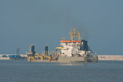 Ship working on the construction of LPG terminal Stock Image