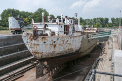 Ship in the only working drydock in holland Royalty Free Stock Images