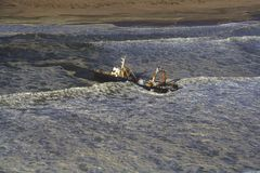 Ship Wreck. Sight seeing flight going North of Swakopmund along the Skeleton Coast Namibia Royalty Free Stock Image