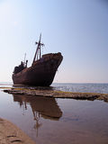 Ship wreck. On a beech stock images