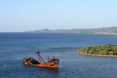 Ship wreck. Honduras island rust dock roatan Stock Images